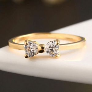 Jewelry - Great Quality Crystal Gold Color Finger Bow Ring